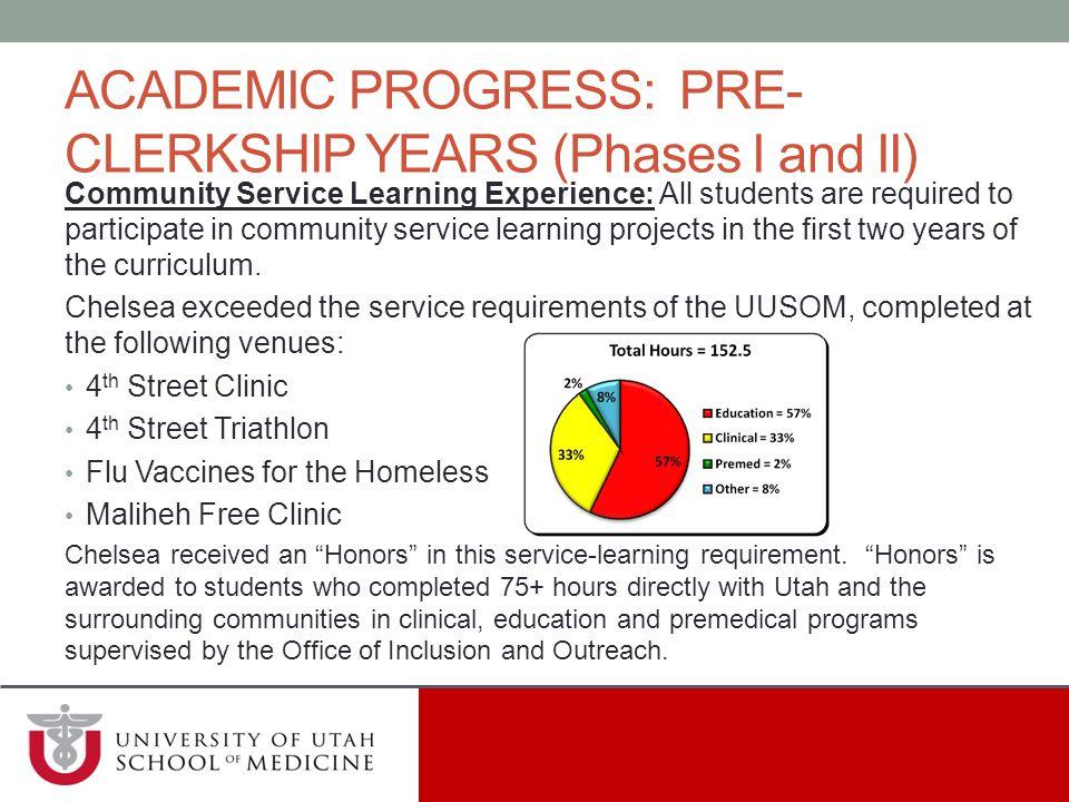 ACADEMIC PROGRESS: PRE-CLERKSHIP YEARS (Phases I and II)