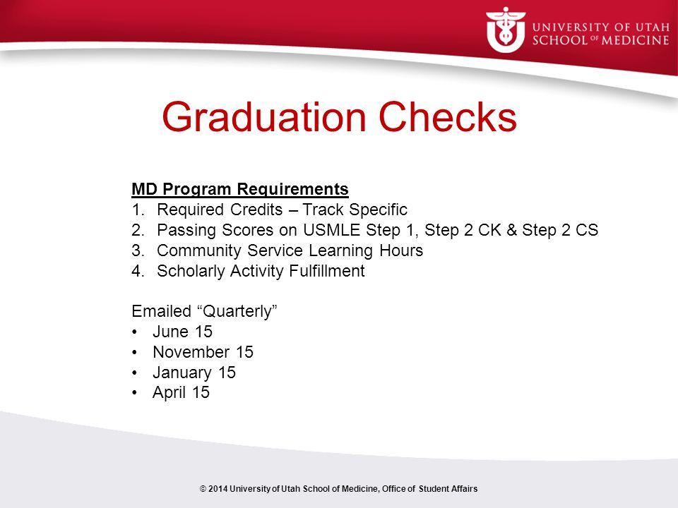Graduation Checks MD Program Requirements