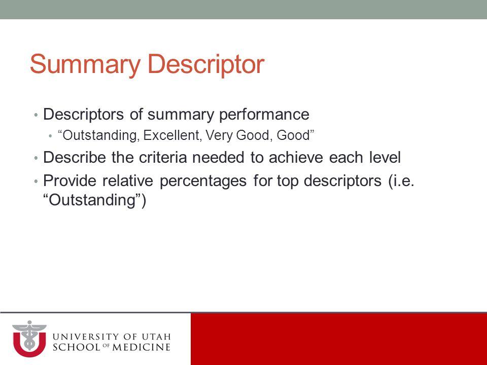 Summary Descriptor Descriptors of summary performance