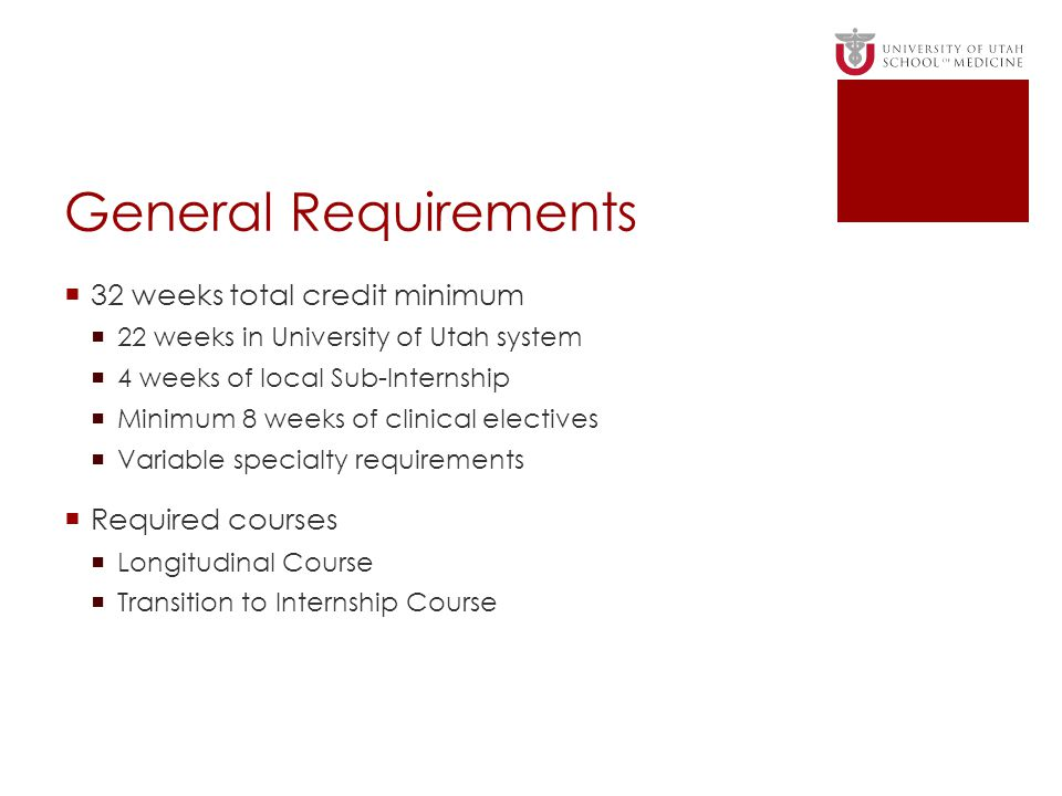 General Requirements 32 weeks total credit minimum Required courses