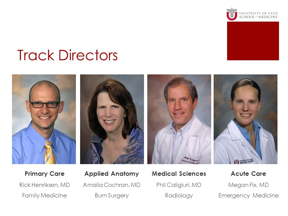 Track Directors Primary Care Applied Anatomy Medical Sciences