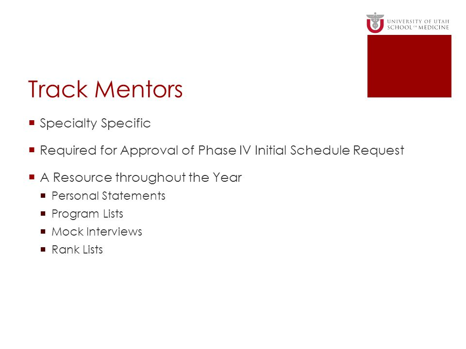 Track Mentors Specialty Specific