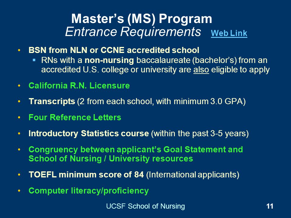 Master's (MS) Program Entrance Requirements Web Link