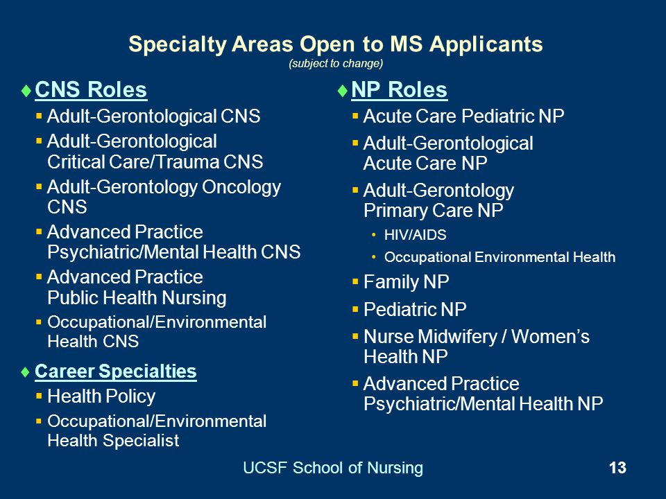 Specialty Areas Open to MS Applicants (subject to change)