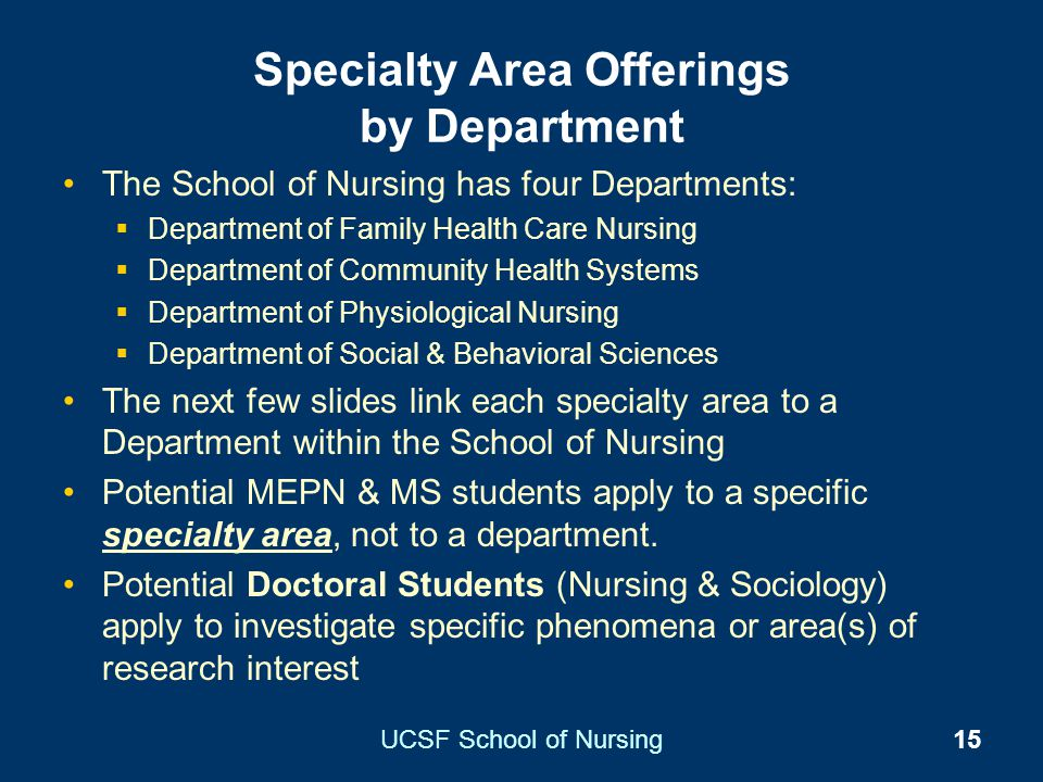 Specialty Area Offerings by Department