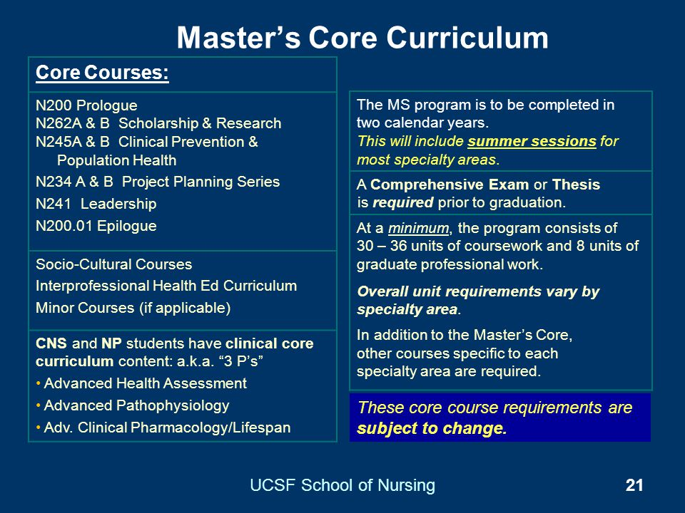 Master's Core Curriculum