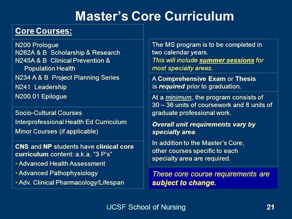 Master's Core Curriculum