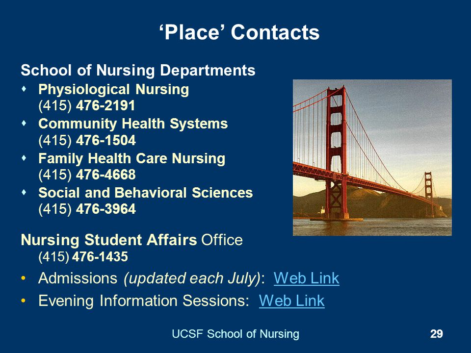 'Place' Contacts School of Nursing Departments