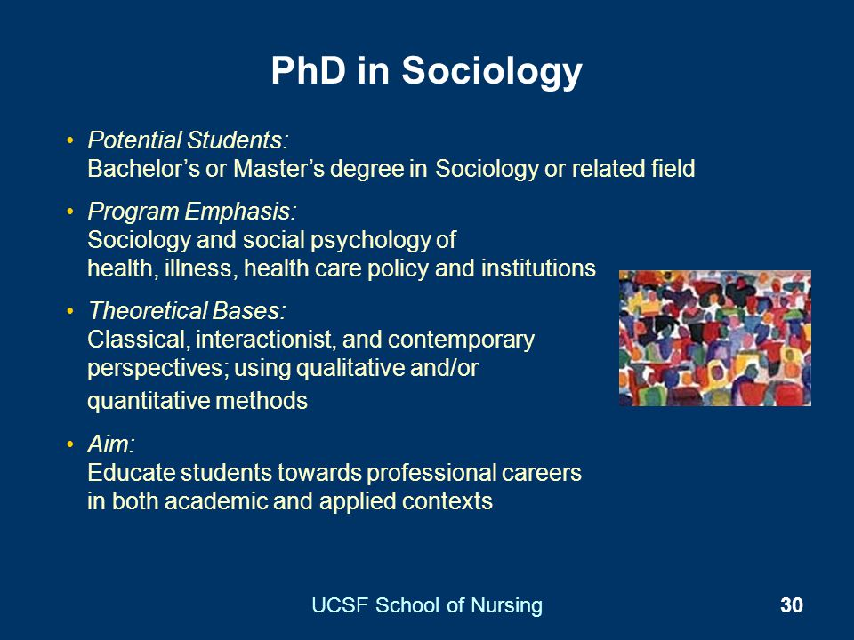 PhD in Sociology Potential Students: Bachelor's or Master's degree in Sociology or related field.