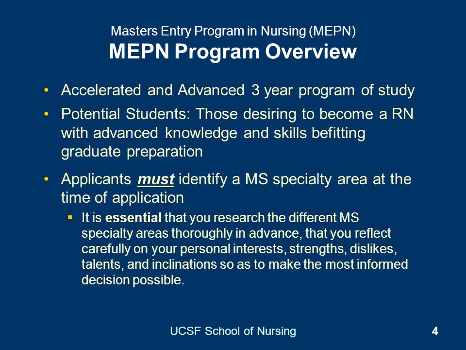 Masters Entry Program in Nursing (MEPN) MEPN Program Overview