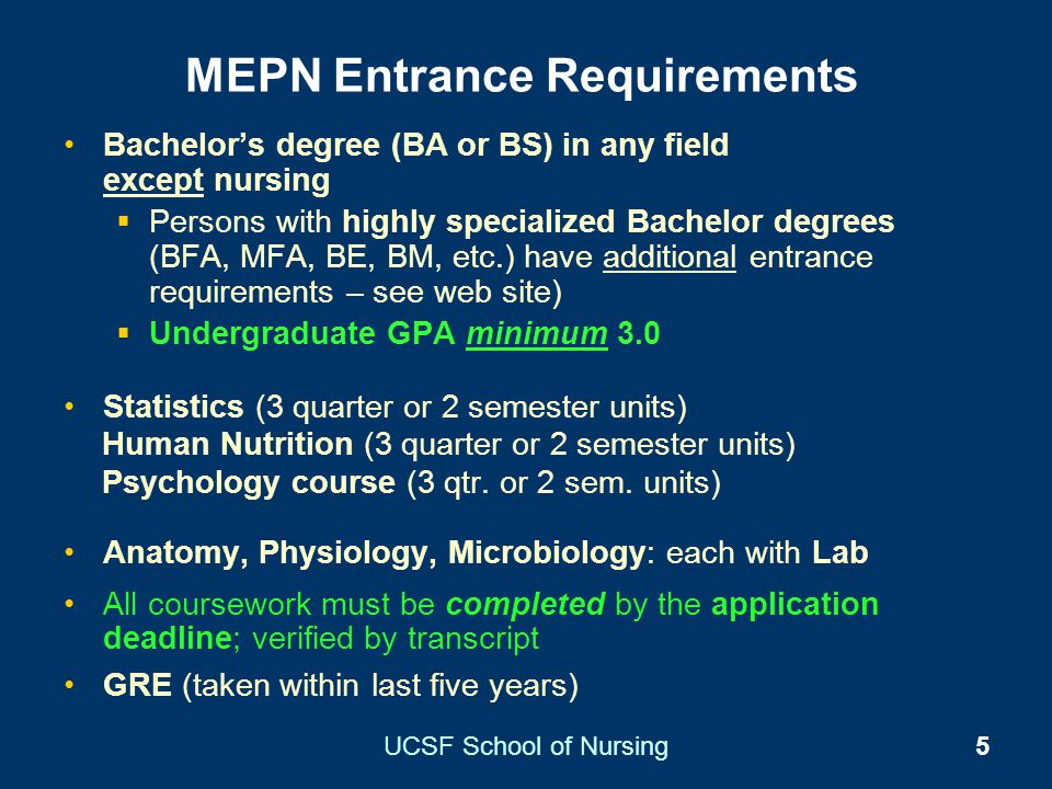 MEPN Entrance Requirements