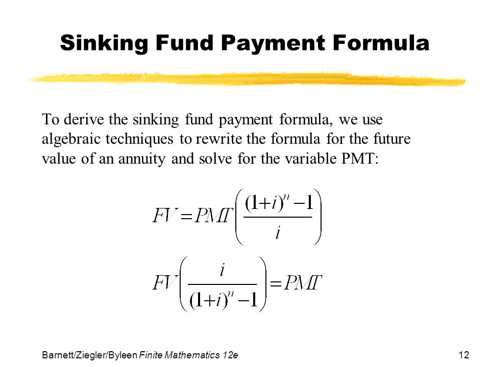 Sinking Fund Payment Formula