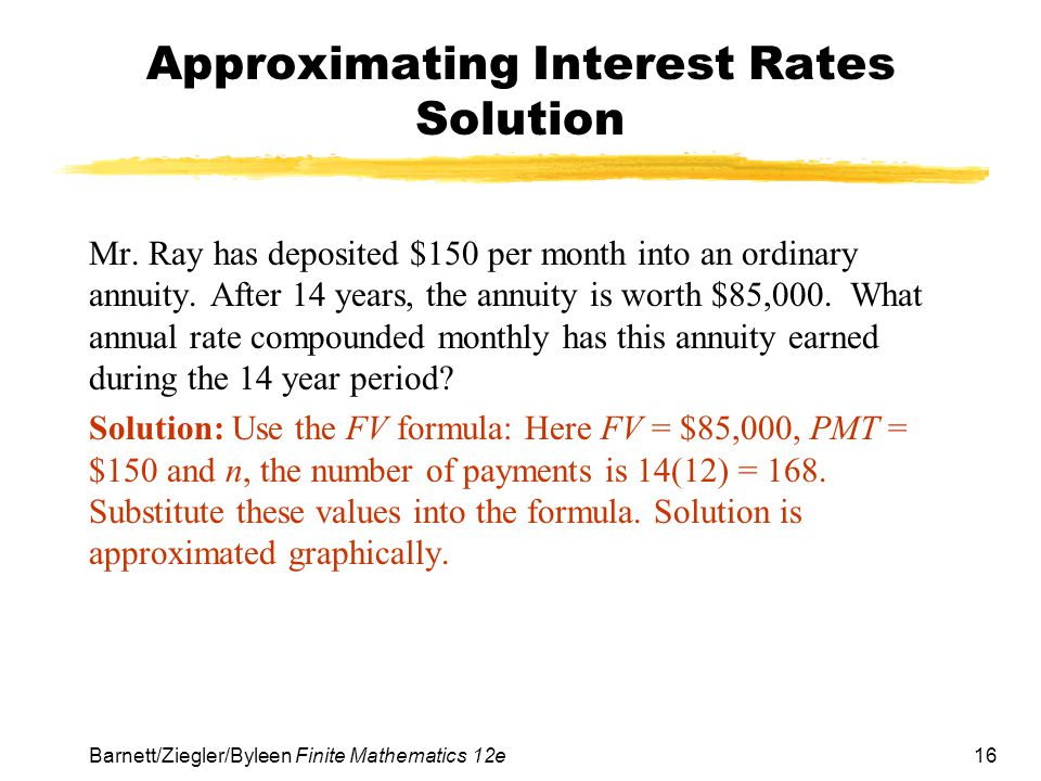 Approximating Interest Rates Solution