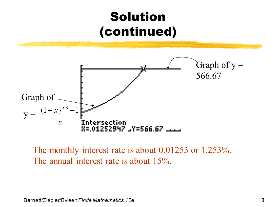 Solution (continued) Graph of y = 566.67 Graph of y =