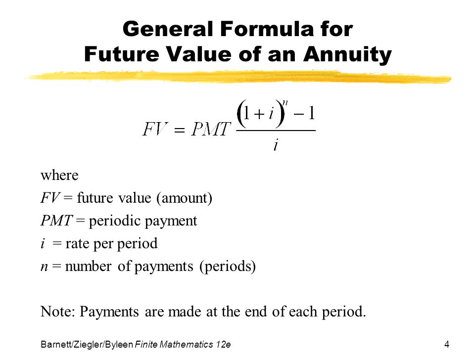 General Formula for Future Value of an Annuity