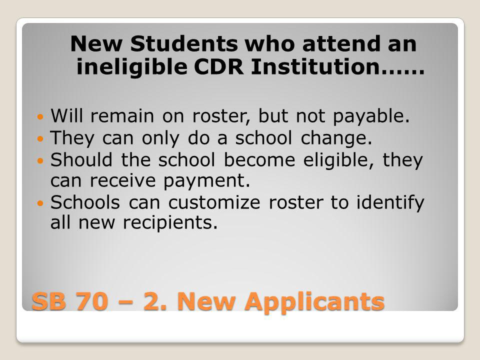 New Students who attend an ineligible CDR Institution……