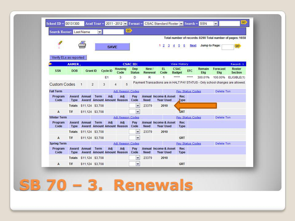 SB 70 – 3. Renewals