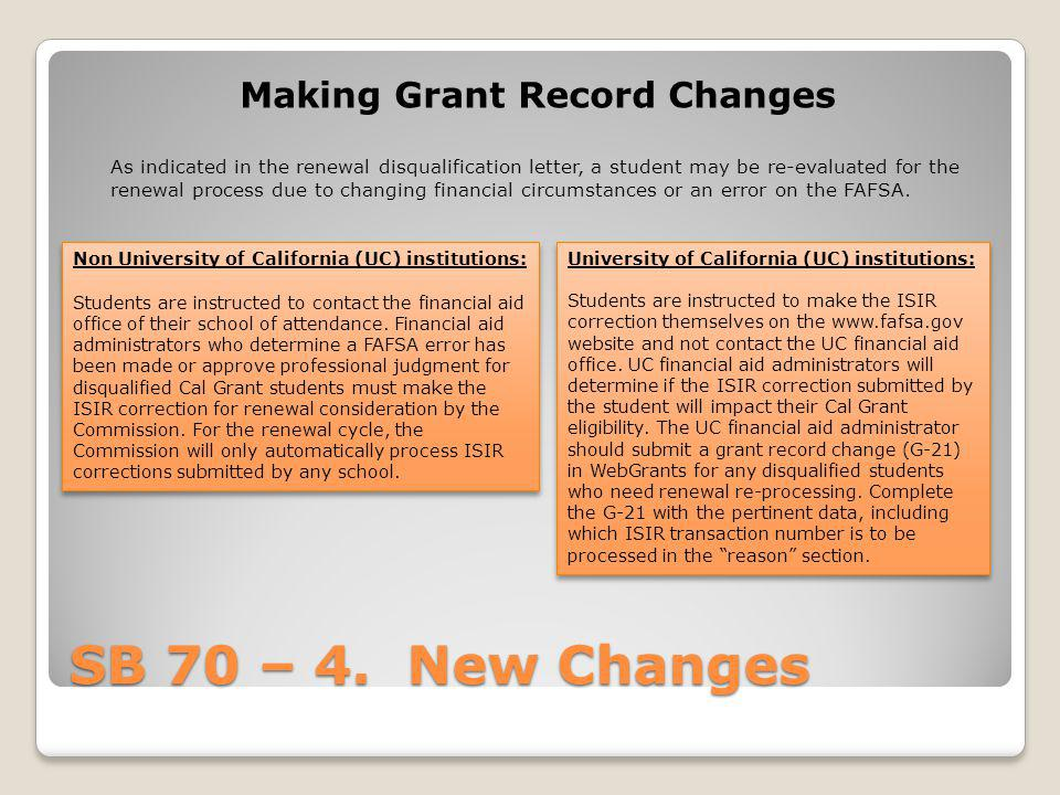 Making Grant Record Changes