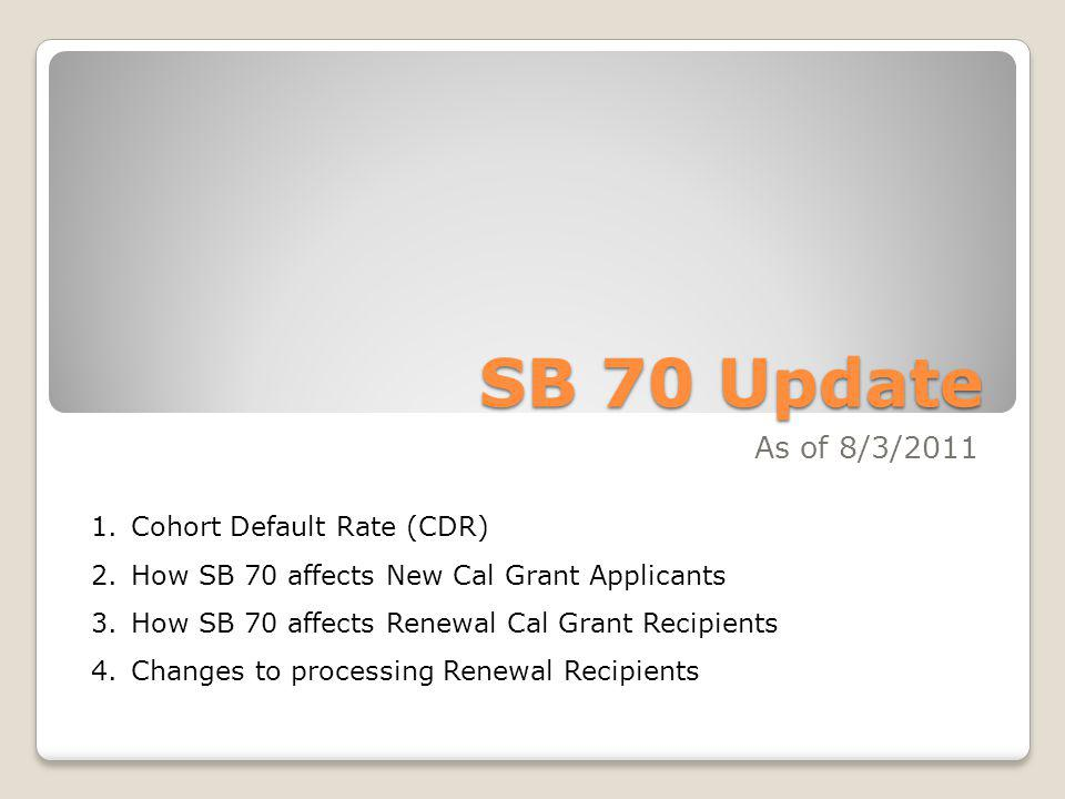 SB 70 Update As of 8/3/2011 Cohort Default Rate (CDR)