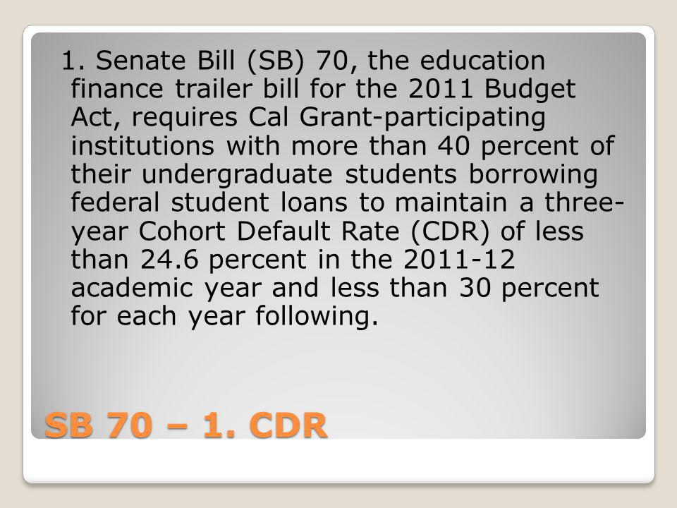 1. Senate Bill (SB) 70, the education finance trailer bill for the 2011 Budget Act, requires Cal Grant-participating institutions with more than 40 percent of their undergraduate students borrowing federal student loans to maintain a three- year Cohort Default Rate (CDR) of less than 24.6 percent in the 2011-12 academic year and less than 30 percent for each year following.