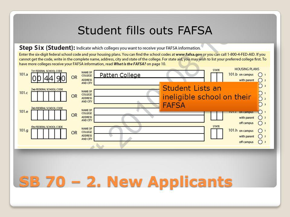 Student fills outs FAFSA