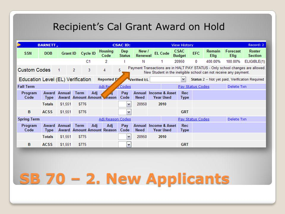 Recipient's Cal Grant Award on Hold