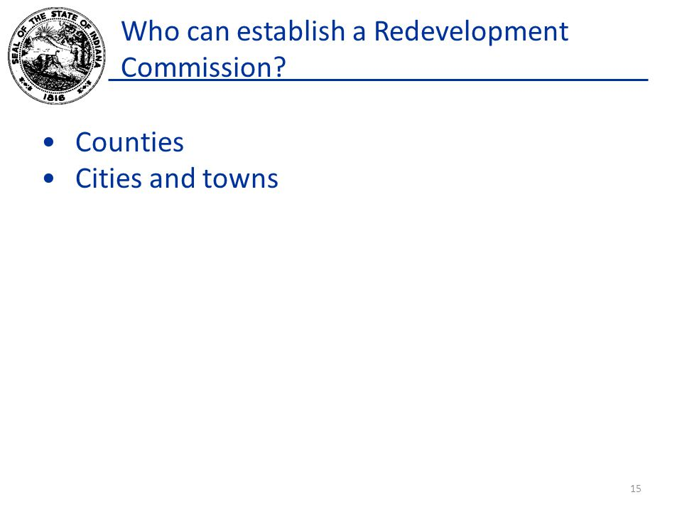 Who can establish a Redevelopment Commission