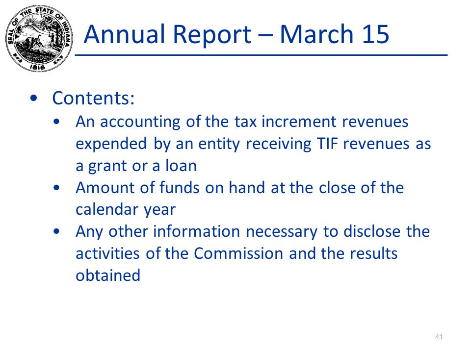 Annual Report – March 15 Contents: