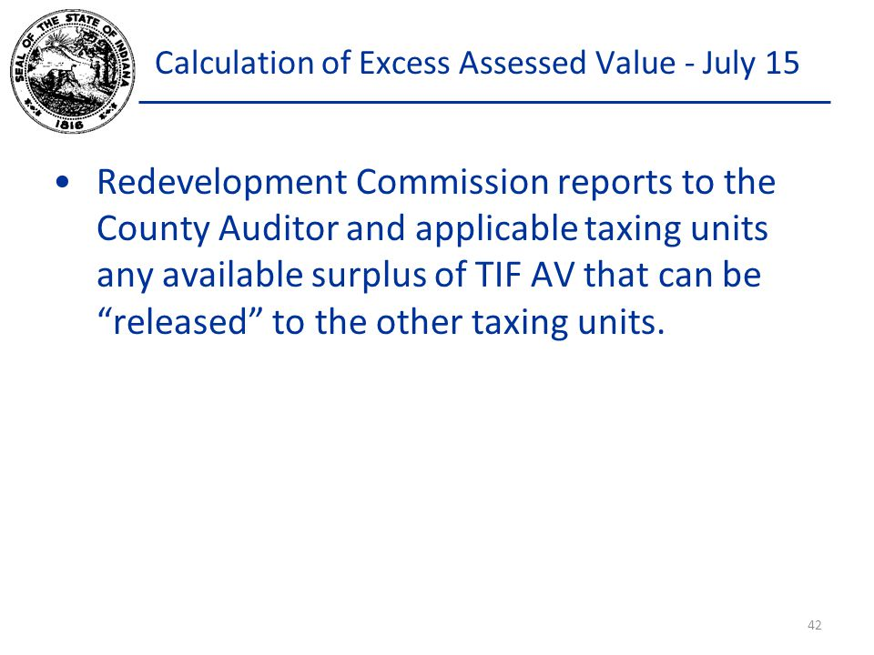 Calculation of Excess Assessed Value - July 15