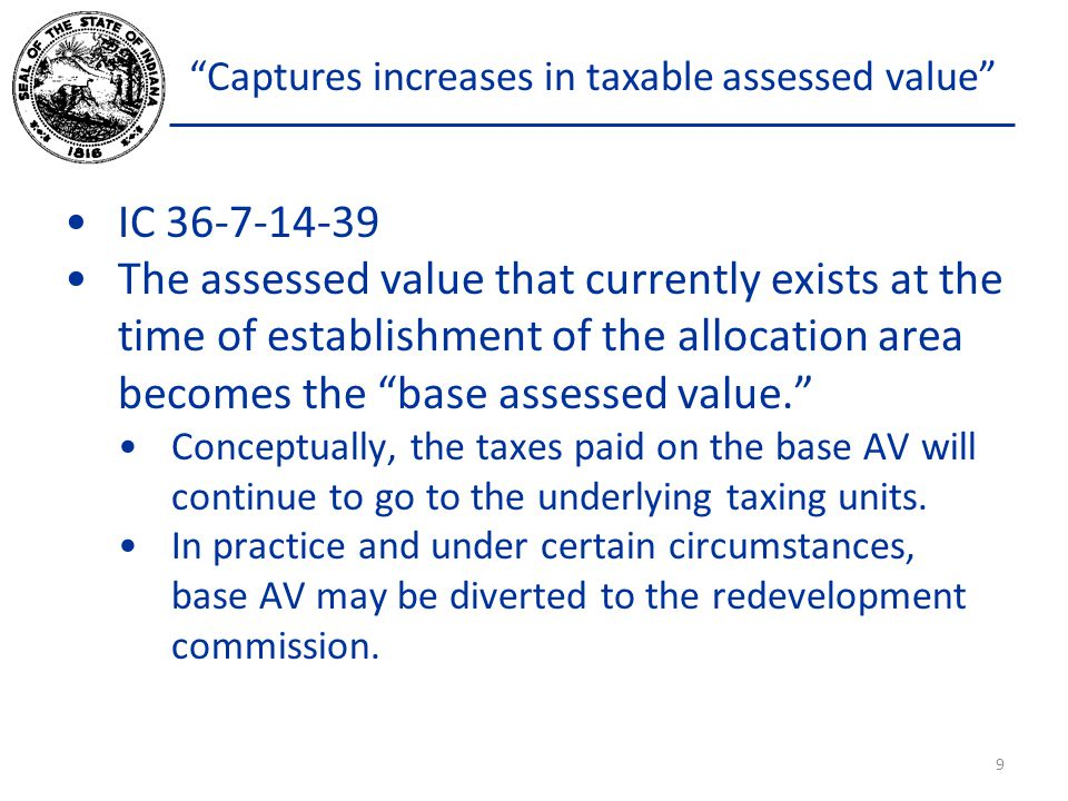 Captures increases in taxable assessed value