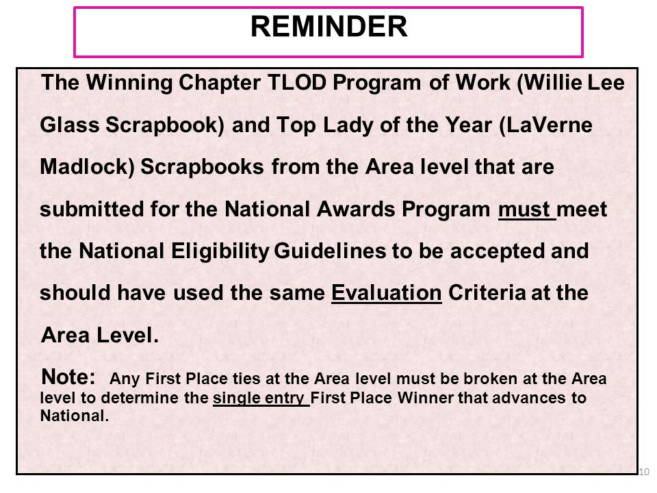 The Winning Chapter TLOD Program of Work (Willie Lee