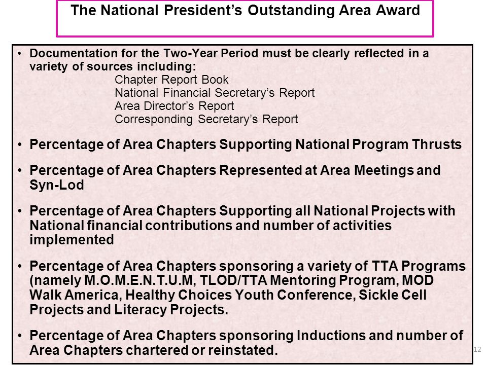The National President's Outstanding Area Award