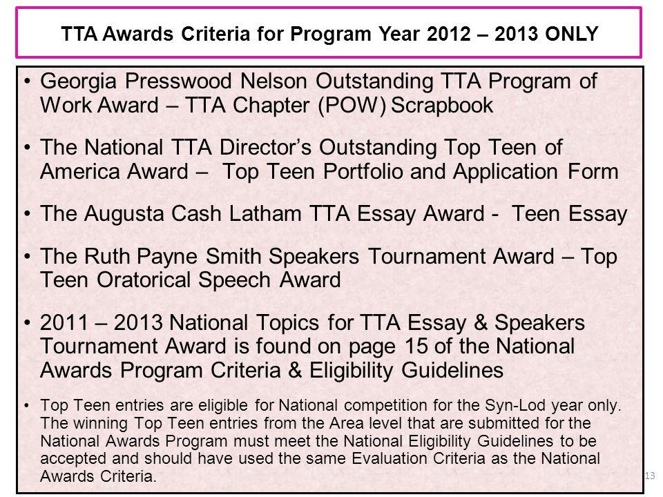 TTA Awards Criteria for Program Year 2012 – 2013 ONLY