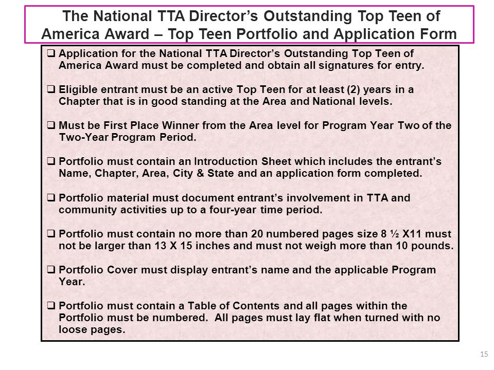 The National TTA Director's Outstanding Top Teen of America Award – Top Teen Portfolio and Application Form