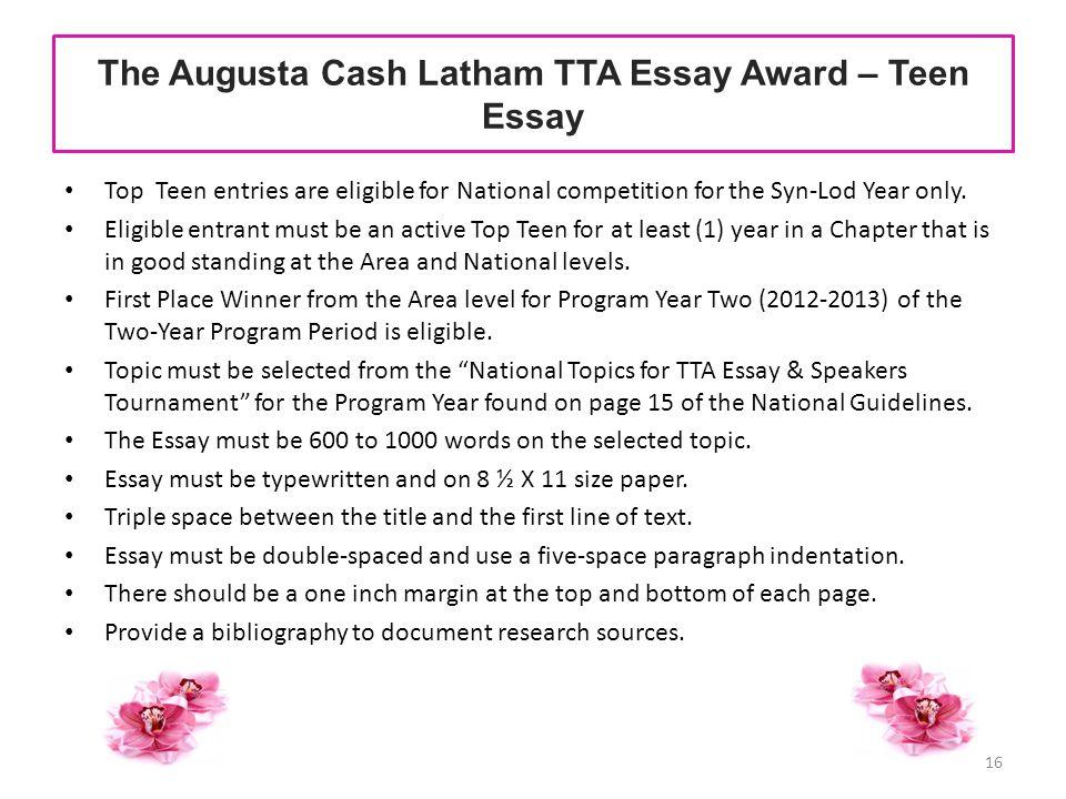 The Augusta Cash Latham TTA Essay Award – Teen Essay