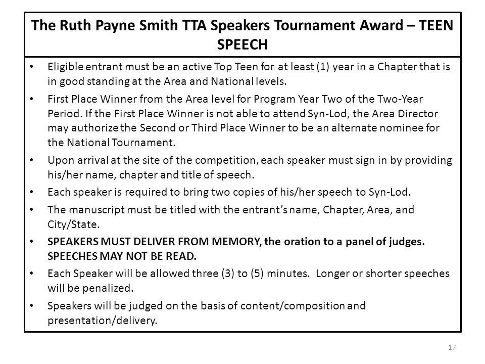 The Ruth Payne Smith TTA Speakers Tournament Award – TEEN SPEECH
