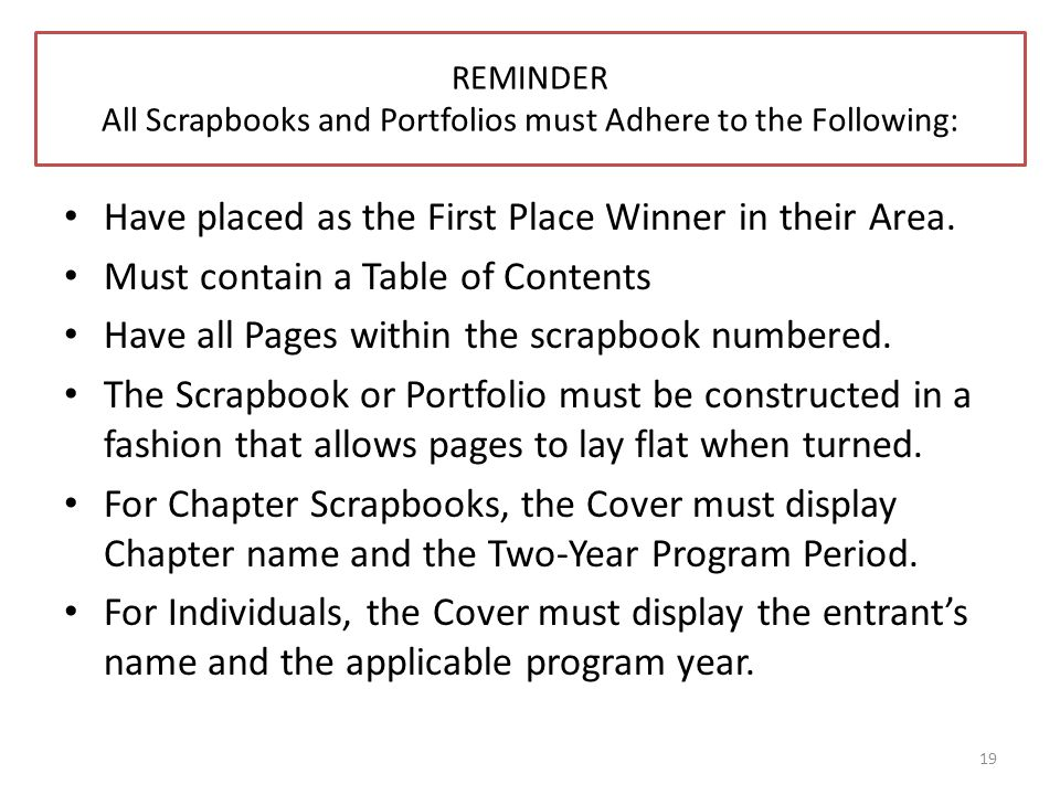 REMINDER All Scrapbooks and Portfolios must Adhere to the Following: