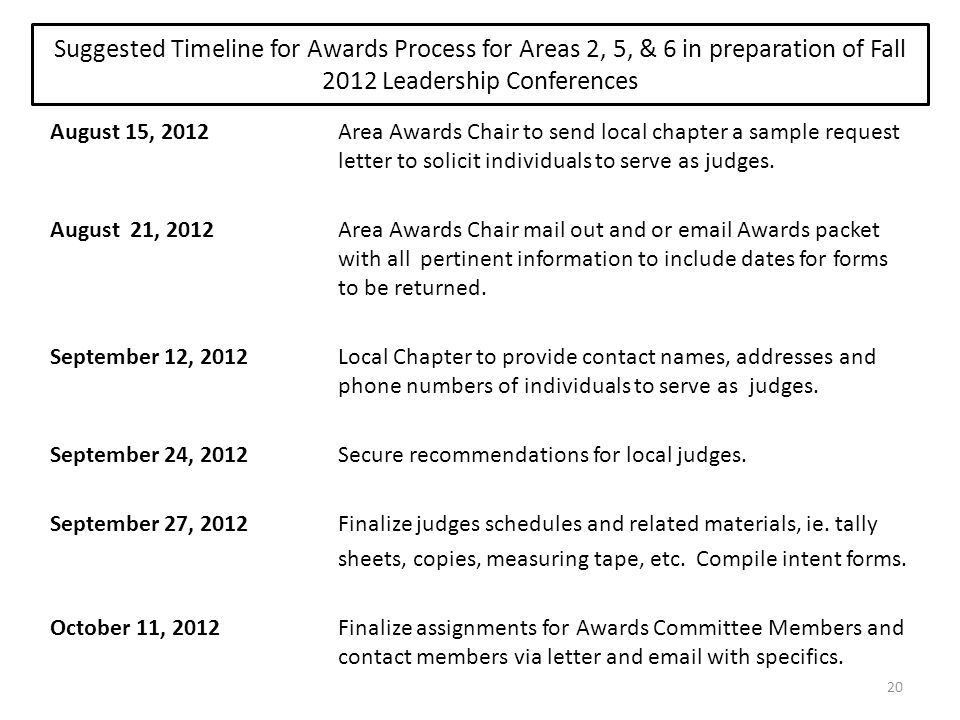 Suggested Timeline for Awards Process for Areas 2, 5, & 6 in preparation of Fall 2012 Leadership Conferences