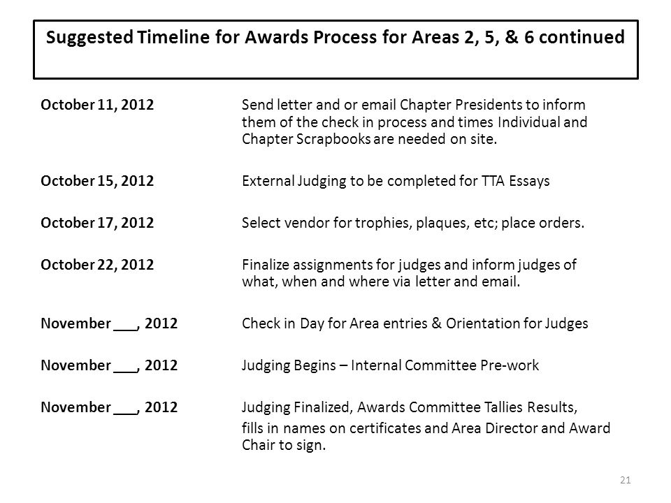 Suggested Timeline for Awards Process for Areas 2, 5, & 6 continued
