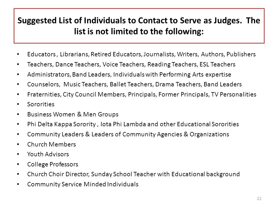 Suggested List of Individuals to Contact to Serve as Judges