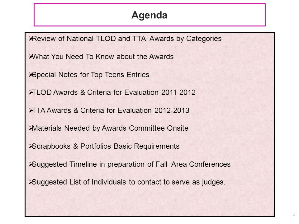 Agenda Review of National TLOD and TTA Awards by Categories