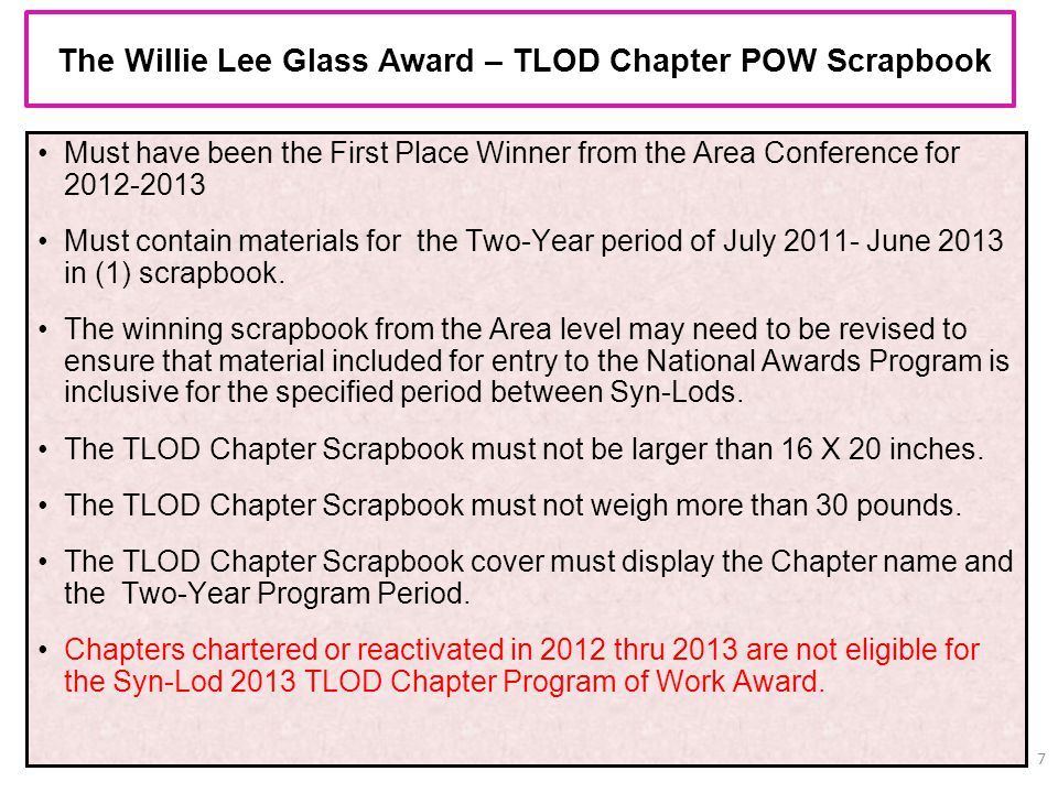 The Willie Lee Glass Award – TLOD Chapter POW Scrapbook