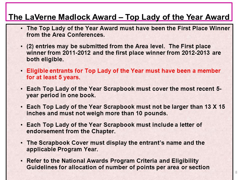 The LaVerne Madlock Award – Top Lady of the Year Award