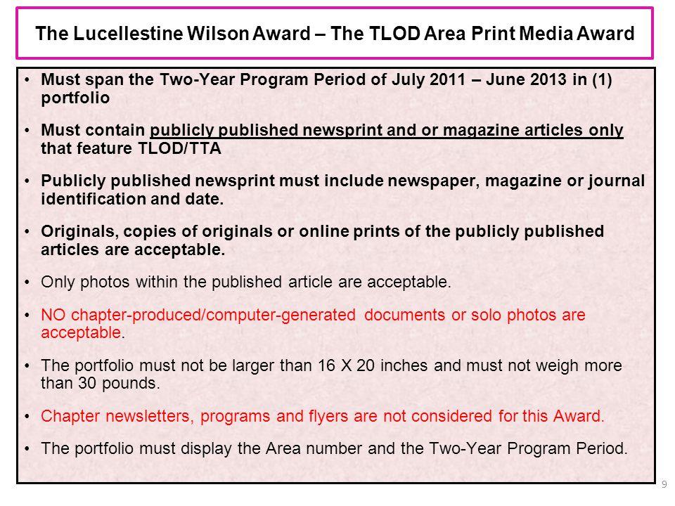 The Lucellestine Wilson Award – The TLOD Area Print Media Award