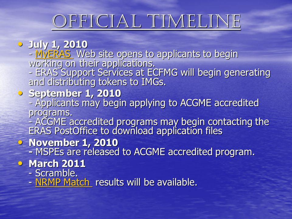 Official Timeline