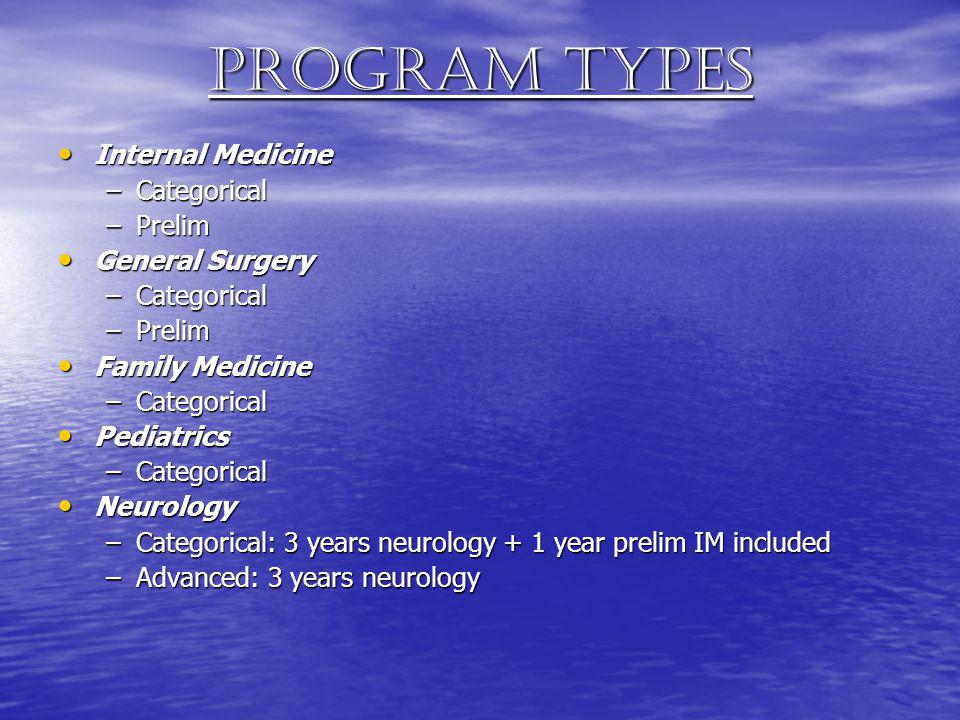 Program types Internal Medicine Categorical Prelim General Surgery