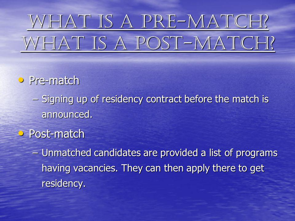 What is a Pre-match What is a Post-match