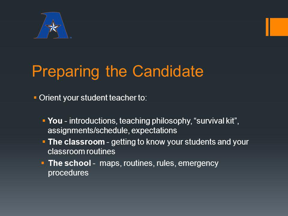 Preparing the Candidate