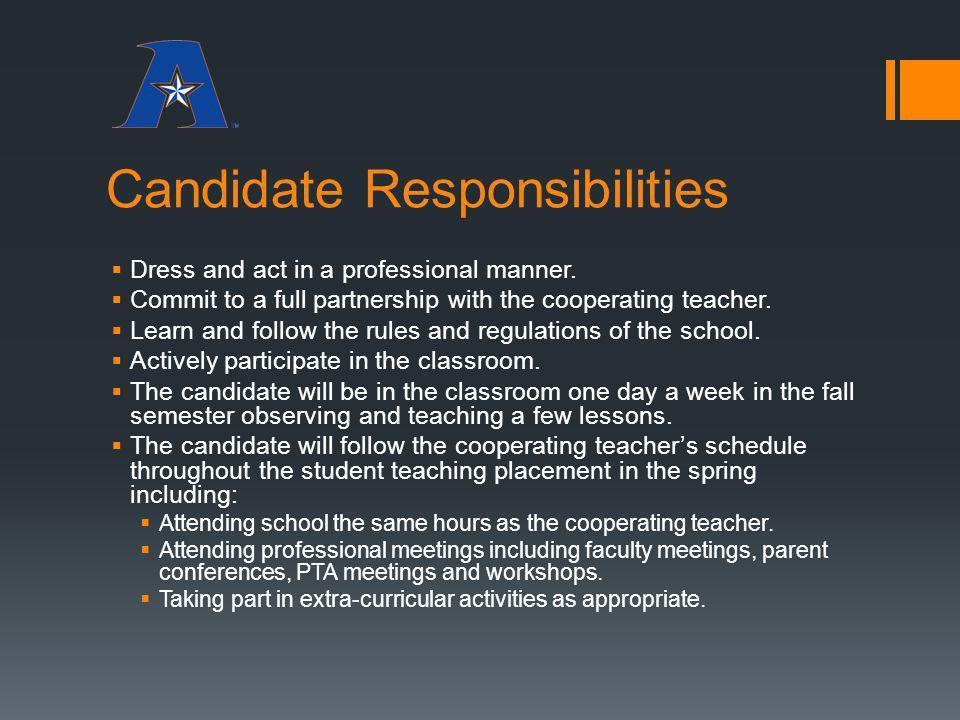 Candidate Responsibilities