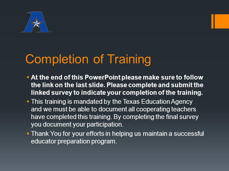 Completion of Training